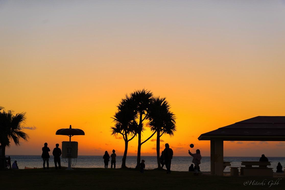 美らSUNビーチでの夕日